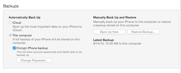 Backup options in itunes